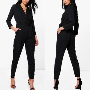Boohoo Black Satin Jumpsuit